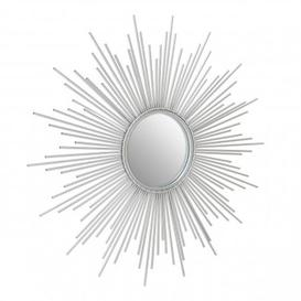 image-Crystals Sunburst Design Wall Bedroom Mirror In Silver Frame