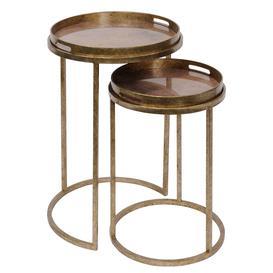 image-Set Of 2 Atlas Side Tables, Antique Gold