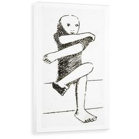 image-'Seated Child' Drawing Print East Urban Home Format: Wrapped Canvas, Size: 100 cm H x 58.2 cm W x 3.8 cm D