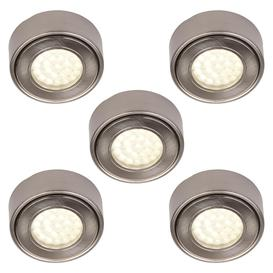 image-Pack of 5 Circular LED Under Cabinet Light Warm White - Satin Nickel