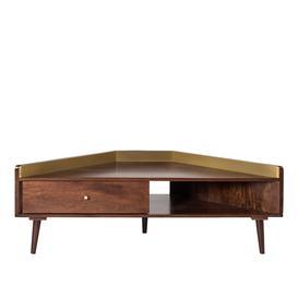 image-Swoon Fresco Mid-Century Style Corner TV Stand in Brass & Light Brown Mango Wood