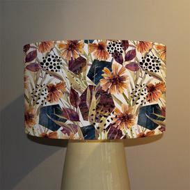image-Autumn Geometric Flowers Cotton Drum Lamp Shade
