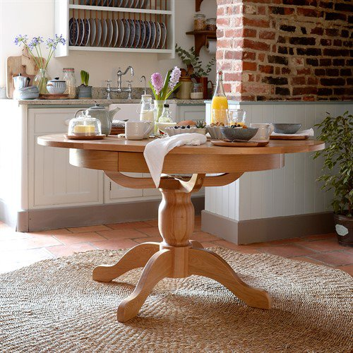 image-Light Oak 110-145cm Round Ext. Dining Table
