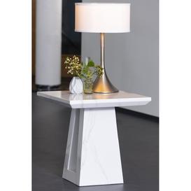 image-Urban Deco Milan White Marble Lamp Table