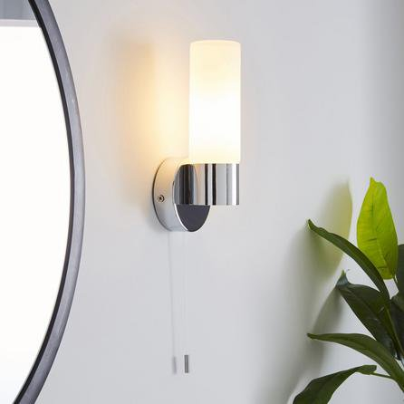 image-Porto Frosted Glass Bathroom Wall Light Silver
