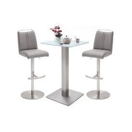 image-Soho White Glass Bar Table With 2 Giulia Ice Grey Leather Stools