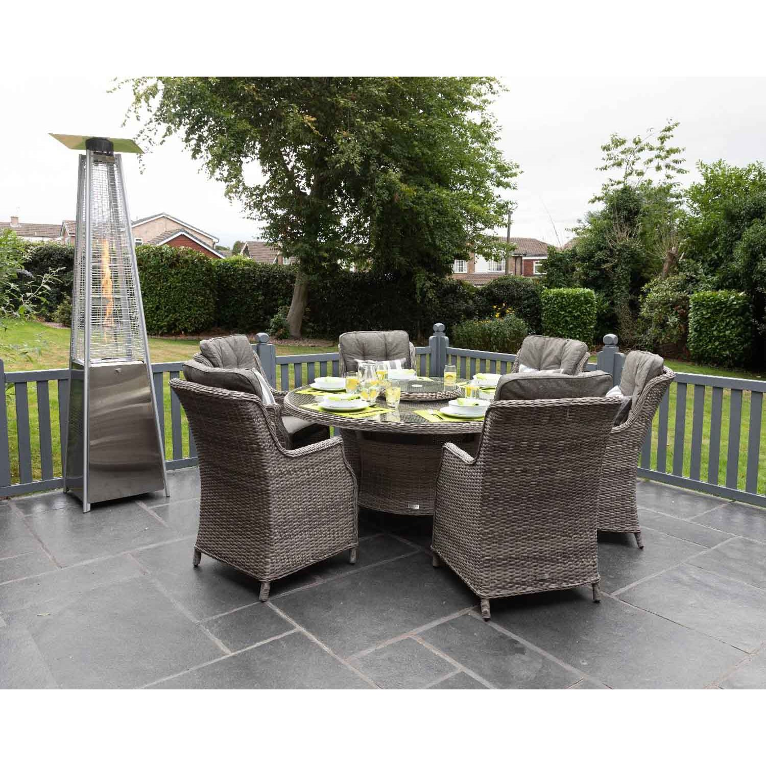 image-Riviera 6 Rattan Garden Dining Chairs and Large Round Table Set in Grey