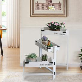 image-Hartt Rectangular Multi-tiered Fir Solid Wood Plant Stand