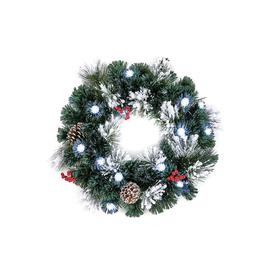 image-Frosted Wreath with LED Pinecones