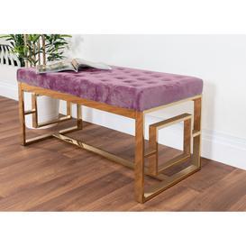image-Cambridge Modern Gold Metal & Pink Velvet Upholstered Luxury Bench