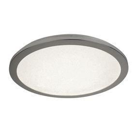 image-Searchlight 8100-60CC Bathroom Flush Ceiling Light In Chrome With Sanded Glass - Dia: 600mm