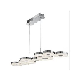 image-Chromia LED 10 Disc Ceiling Bar In Chrome And Frosted Acrylic
