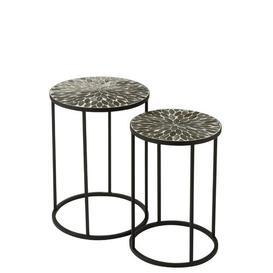 image-Mylee Leaves Mosaic 2 Piece Nest of Tables Mercury Row