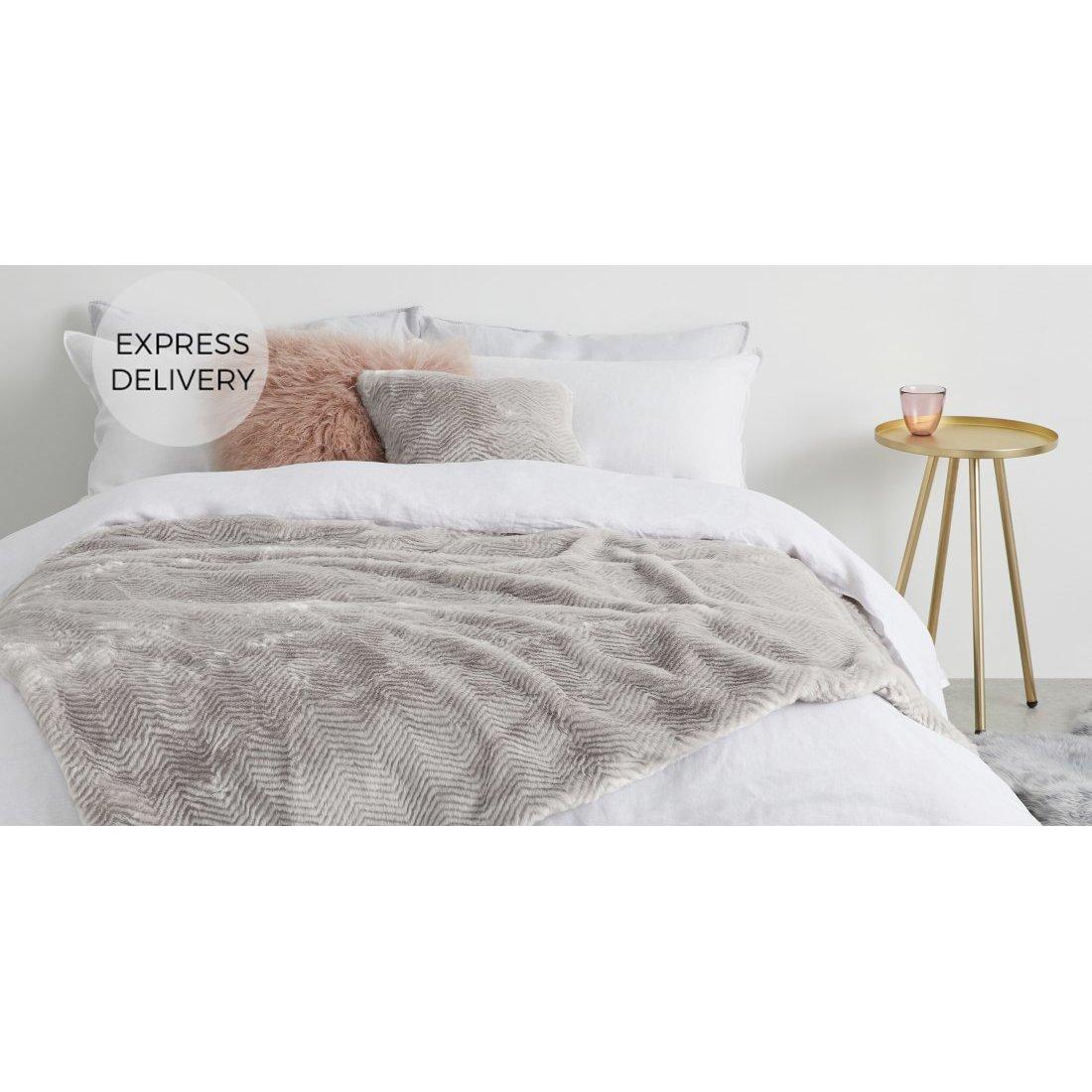 image-Chevron Luxury Faux Fur Throw, 130 x 170cm, Pewter Grey