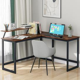 image-L Computer Desk With Self Corner Desk Work Table Home Office Table Industrial Rustic Brown