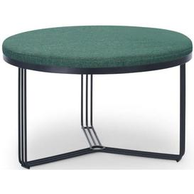 image-Gillmore Space Finn Conifer Green Woven Fabric and Black Matt Round Footstool