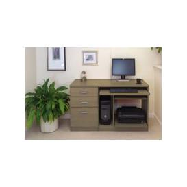 image-Small Office Desk Set With Computer Workstation & 3 Drawers (English Oak)