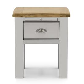 image-Vida Living Amberly Grey Painted & Oak 2 Drawer Lamp Table