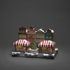 image-LED Fiber Optic House with City Scene and Rotating Christmas Tree