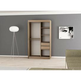 image-Natalie 2 Door Sliding Wardrobe Natur Pur Size: 200 cm H x 120 cm W x 62 cm D, Colour: Matt white/Sonoma oak