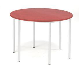 image-Desk SONITUS, round, ├ÿ 1200x760 mm, red linoleum, white