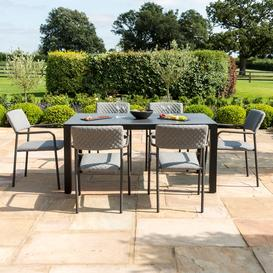 image-Maze Lounge Outdoor Fabric Bliss Taupe 6 Seat Rectangular Dining Set