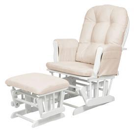 image-Kub Haywood Glider Nursing Chair and Footstool, White