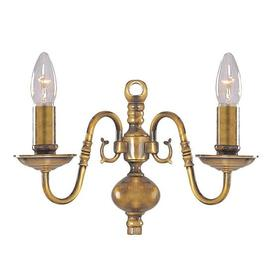 image-Flemish Antique Brass Wall Light With Metal Candle Covers