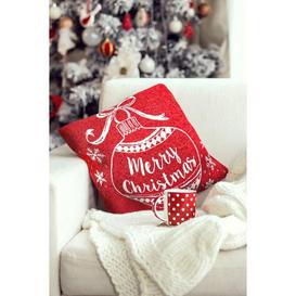 image-Merry Christmas Bauble Chenille Cushion Cover