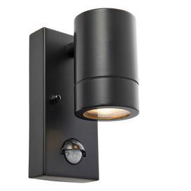 image-Palin PIR Outdoor Single Wall Spotlight with Sensor, GU10, IP44 Rated, Matt Black.