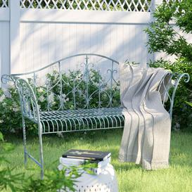 image-Miramar Steel Bench Sol 72 Outdoor Colour: Antique Blue
