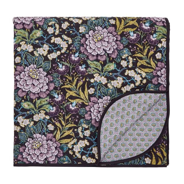 image-V&A Peony Trail Quilted Throw - Midnight