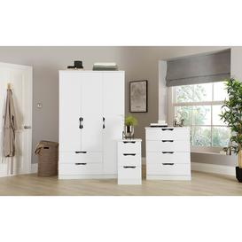 image-Camden White High Gloss 3 Piece 3 Door Wardrobe Bedroom Furniture Set