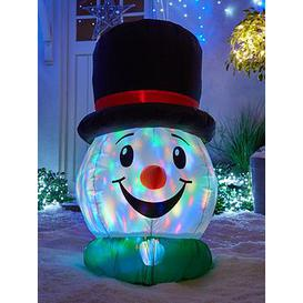 image-Festive 100 Cm Inflatable Snowman Head With Light Show Outdoor Christmas Decoration