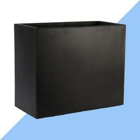 image-Contemporary Smooth Stone Planter Box Hashtag Home Colour: Black, Size: 25.5 cm H x 25 cm W x 25 cm D