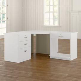 image-Walshaw Corner Desk Ebern Designs Colour: White