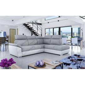 image-Valdovinos Corner Sofa Bed Ebern Designs Upholstery Colour: Light Grey/White, Orientation: Right Hand Facing