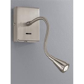 image-W044 Satin Nickel LED Adjustable Reading Wall Light