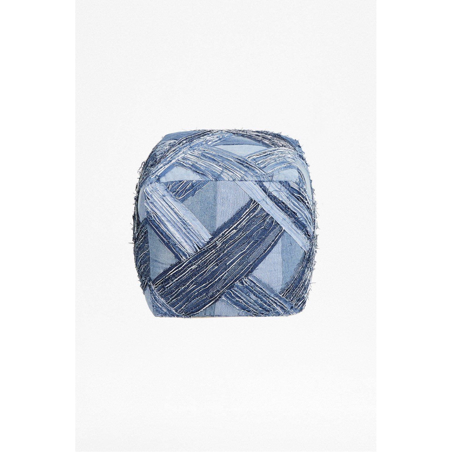 image-Recycled Denim Pouffe - blue denim