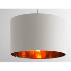 image-Oro Extra Large Pendant Drum Lamp Shade, White Clay and Copper