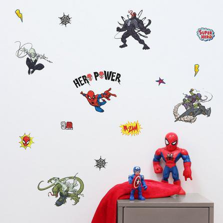 image-Disney Marvel Spider-Man Wall Stickers White, Red and Blue