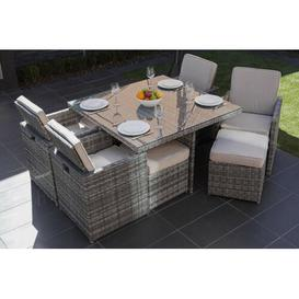 image-Wentworth 8 Seater Dining Set with Cushions Sol 72 Outdoor Colour (Frame): Grey