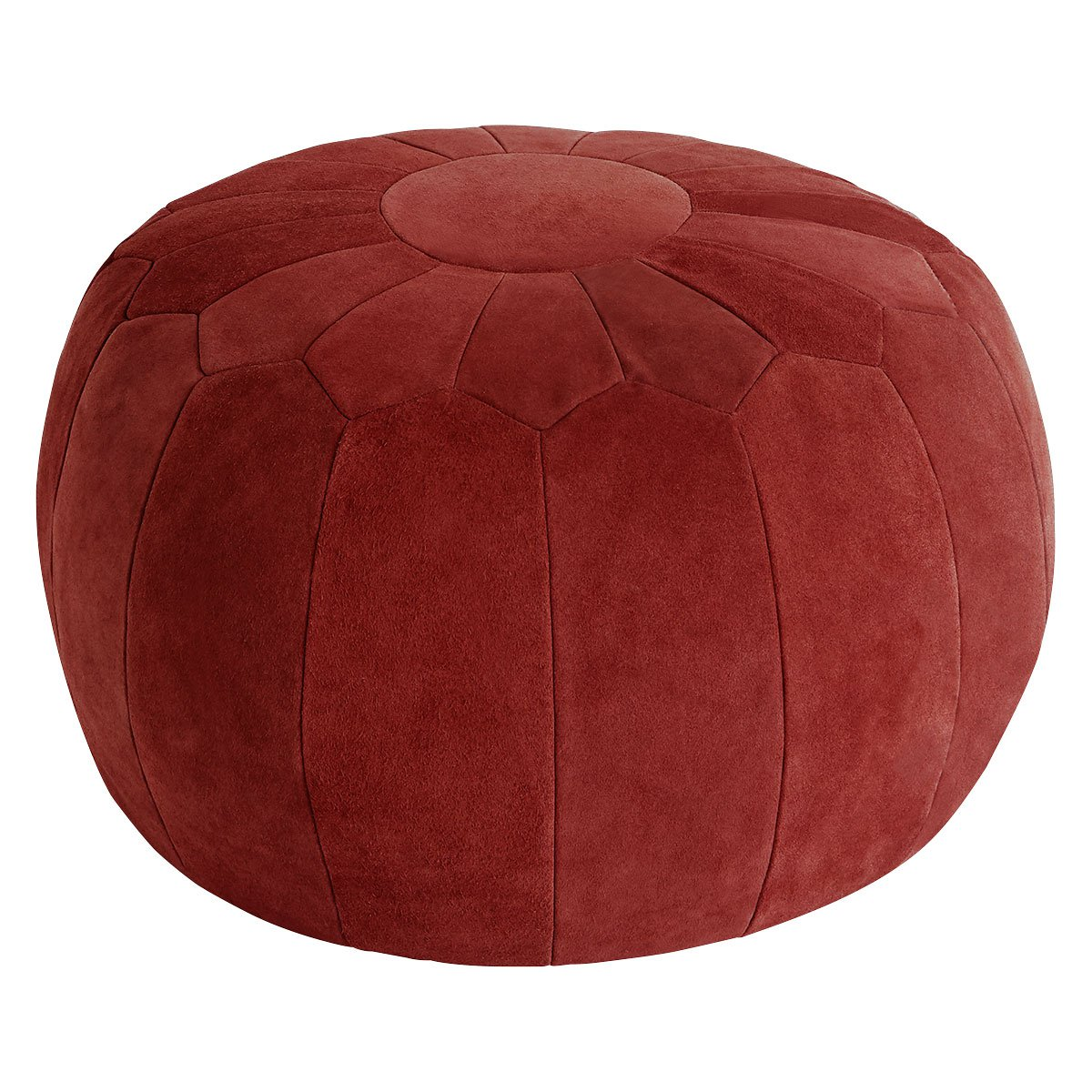 image-Tux Red Suede Round Panelled Pouf, Red