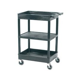 image-Plastic 3 Tier Multi Purpose Trolley With Flat Middle Shelf And 2 Storage Trays (150kg Capacity), Black, Free Standard Delivery