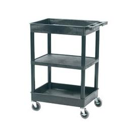 image-Plastic 3 Tier Multi Purpose Trolley With Flat Middle Shelf And 2 Storage Trays (150kg Capacity), Black