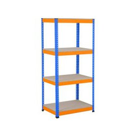 image-Rapid 1 Heavy Duty Shelving With 4 Chipboard Shelves 915wx1980h (Blue/Orange), Blue/Orange, Free Next Day Delivery