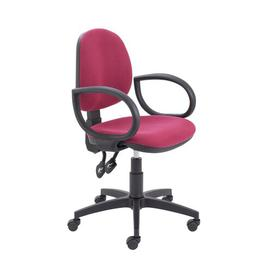 image-Coil Desk Chair Symple Stuff Arms: Fixed, Colour (Upholstery): Claret