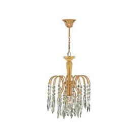image-Waterfall 1 Lamp Gold Finish Pendant With Crystal Trimmings