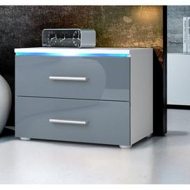 image-Faro 2 Drawer Bedside Table Vladon Colour: White (matt)/Grey (glossy), Lighting included: No