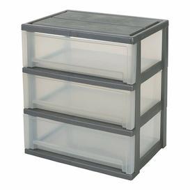 image-3 Drawer Filing Cabinet IRIS Colour (Body/Drawer): Silver/Transparent